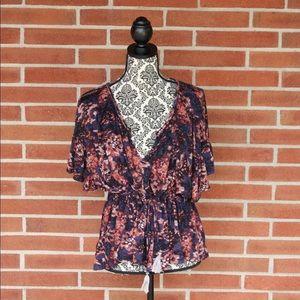 Free People Dark Floral Tie Blouse